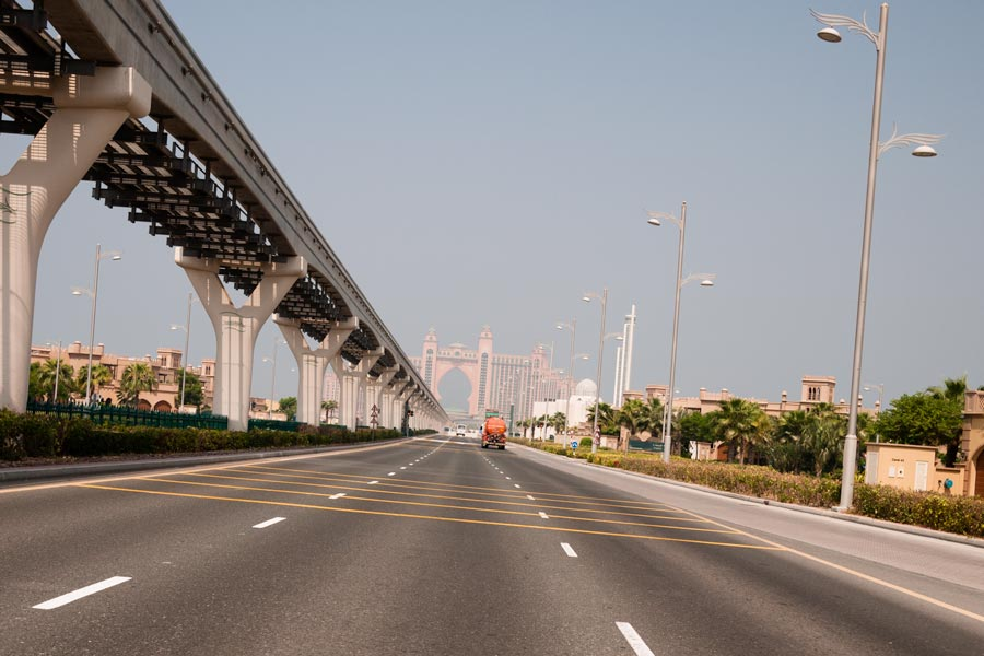 Heading down the centre of The Palm Jumeirah. The Atlantis 5-star hotel sits in the distance