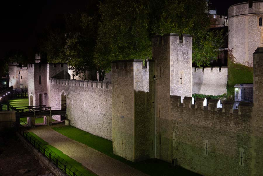 The Thames facing wall of the Tower of London.