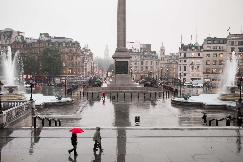 Dark, dank, and grey over Trafalgar Square.