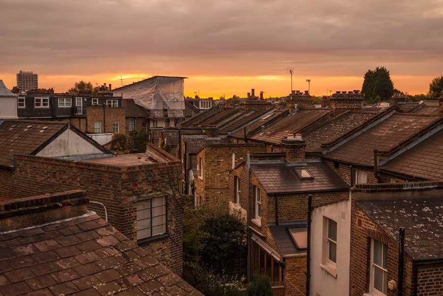 Sunrise over Clapham.