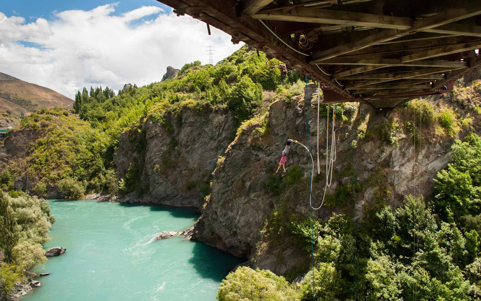 A jumper leaps from the Kawarau Bridge Bungy.