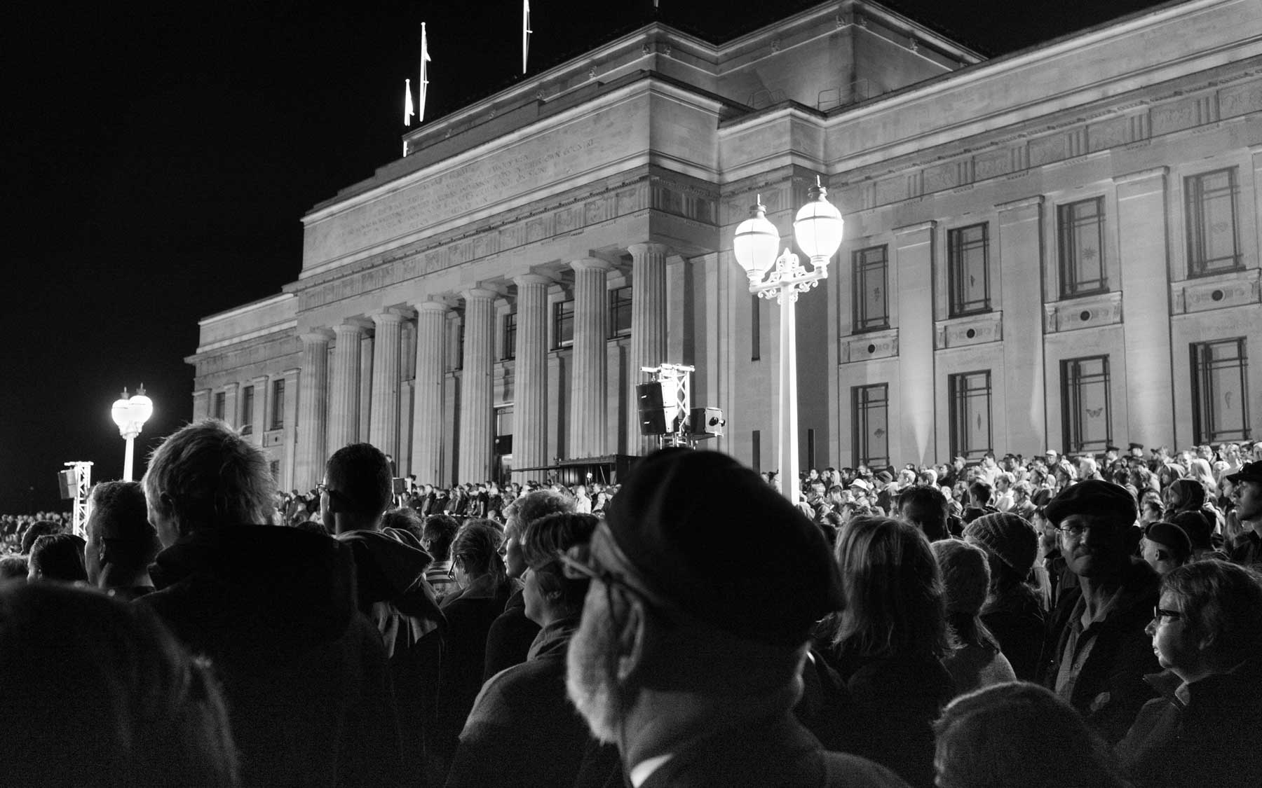 The ANZAC Day service begins at the Auckland War Memorial Museum.