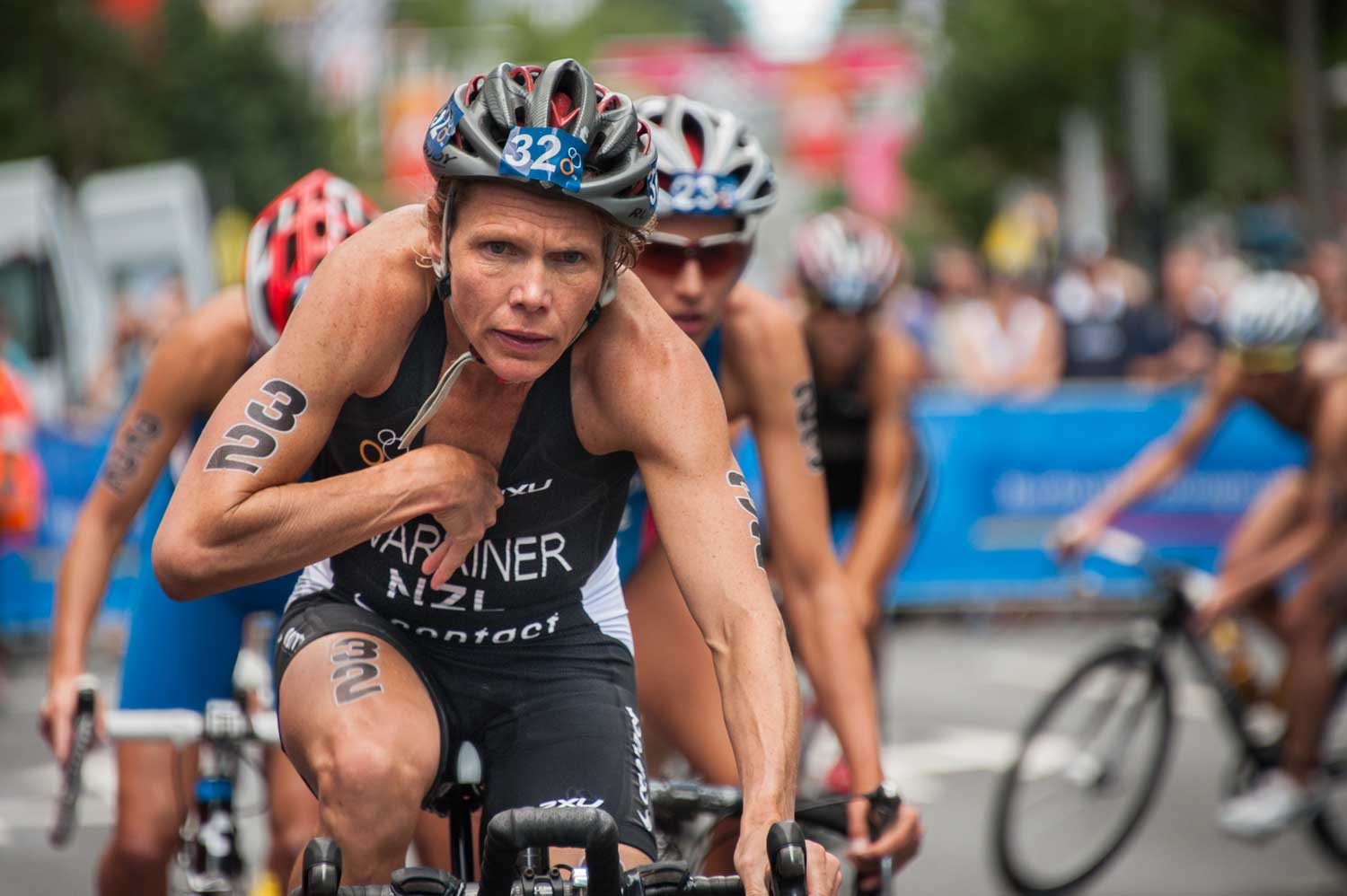 Samantha Warriner in her return to ITU competition, aged 41.