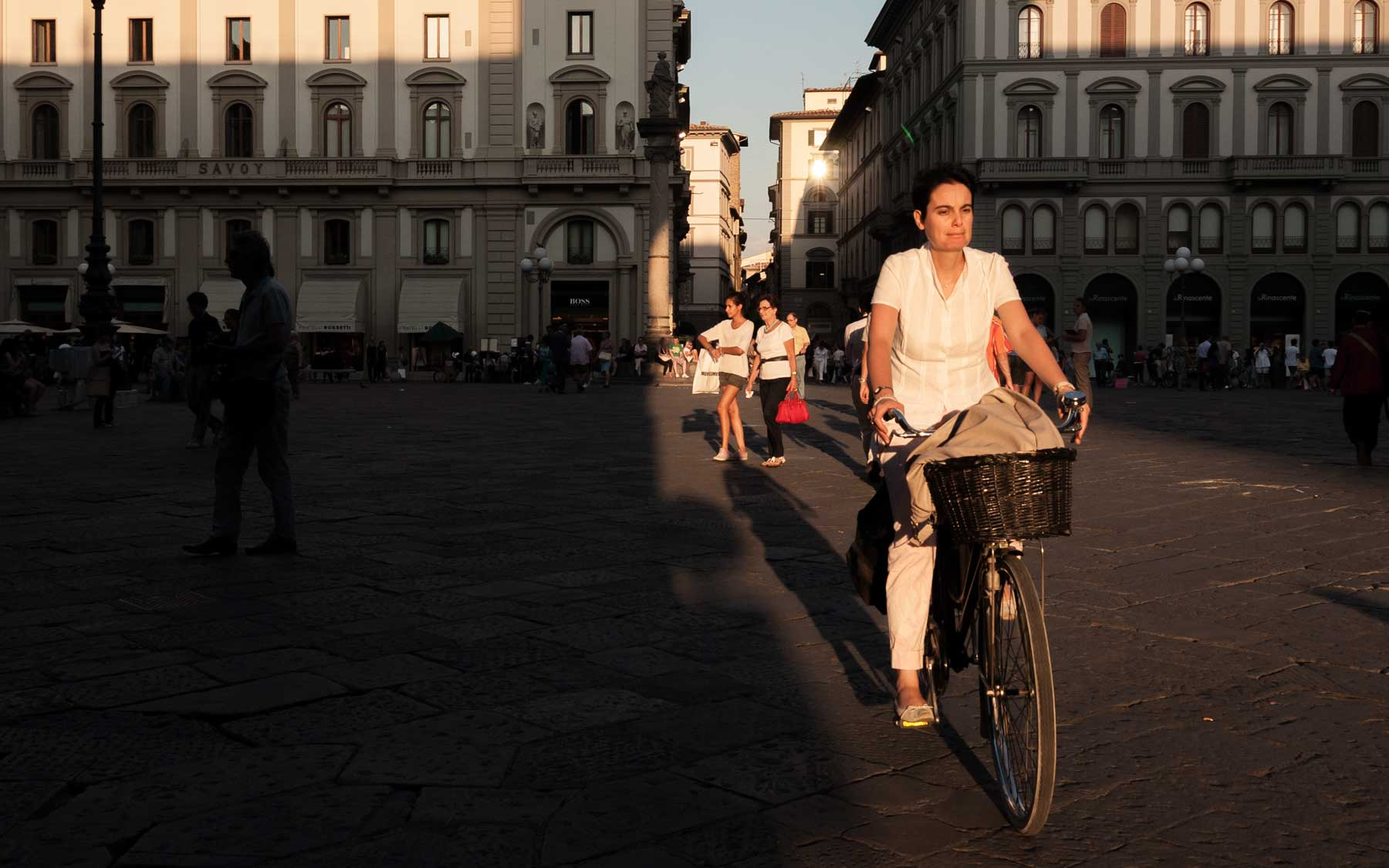 Cycling through Piazza della Repubblica.