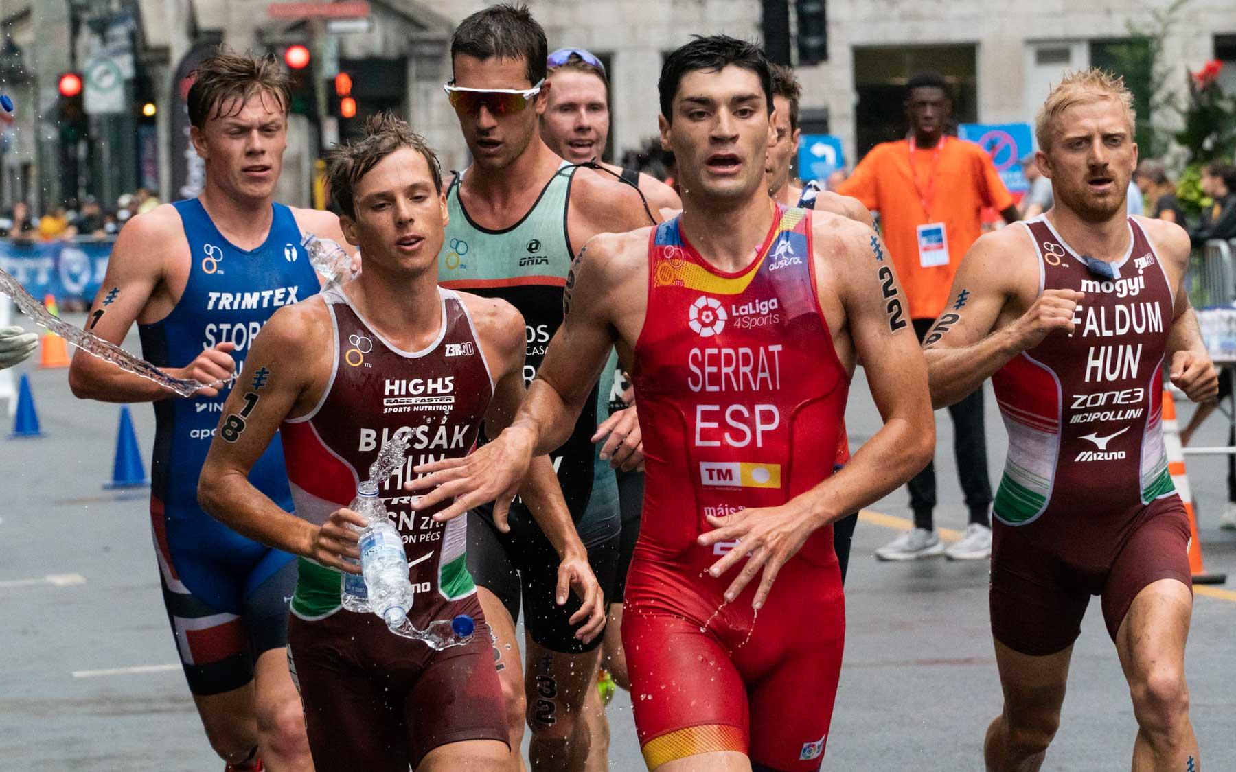 Antonio Serrat, Gabor Faldum, and Bence Bicsak on the final lap.