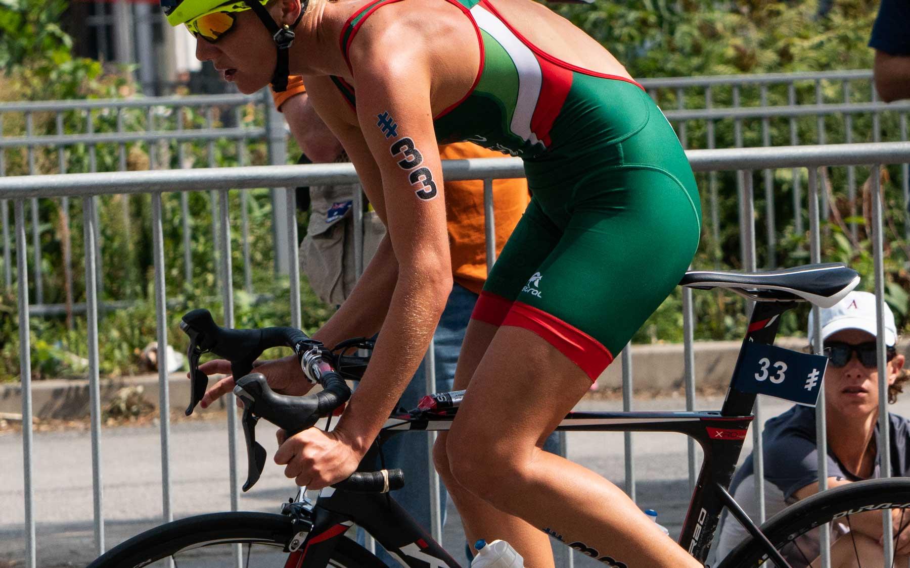 Michelle Flipo rounds the downhill corner.