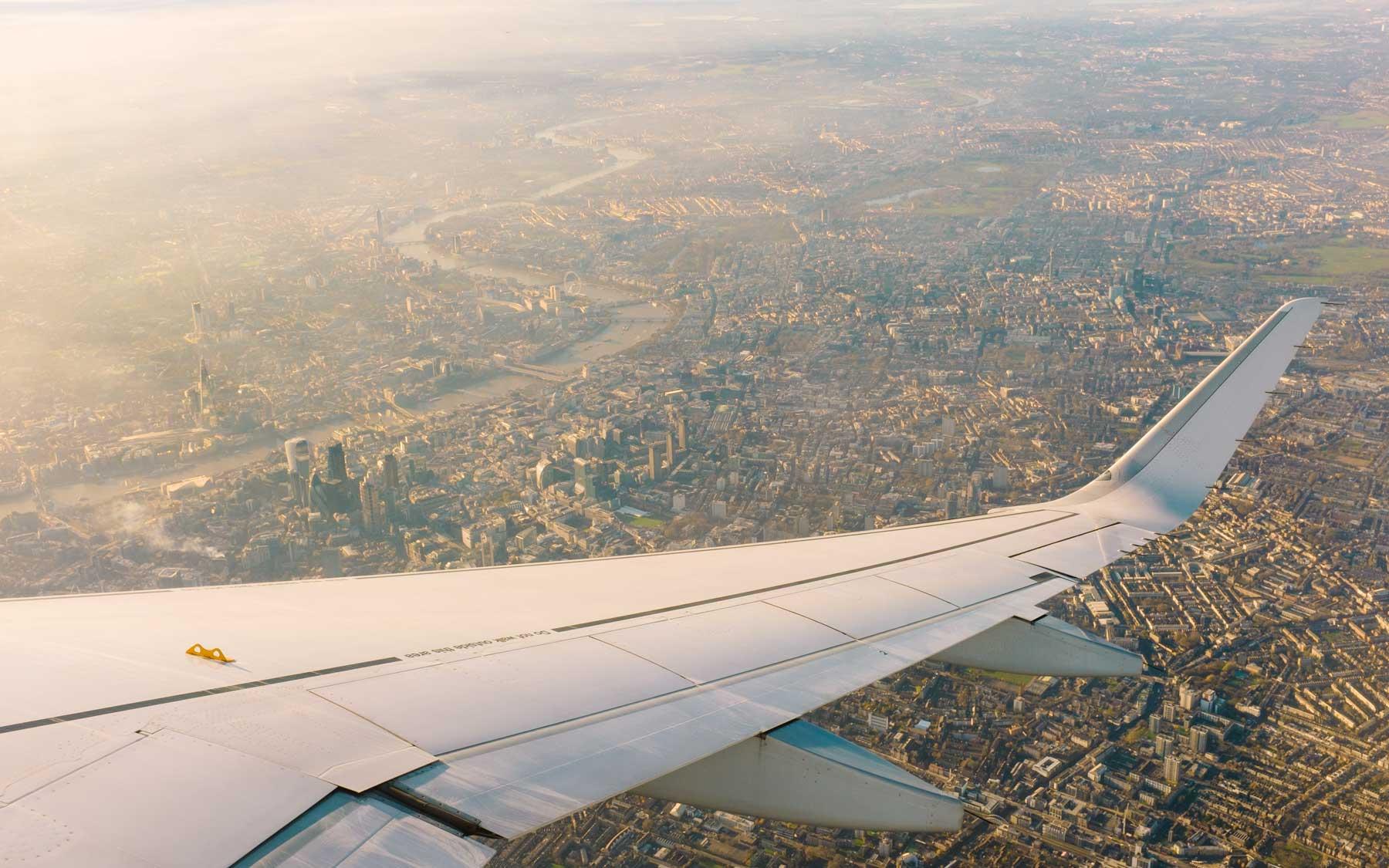 Circling over inner city London.