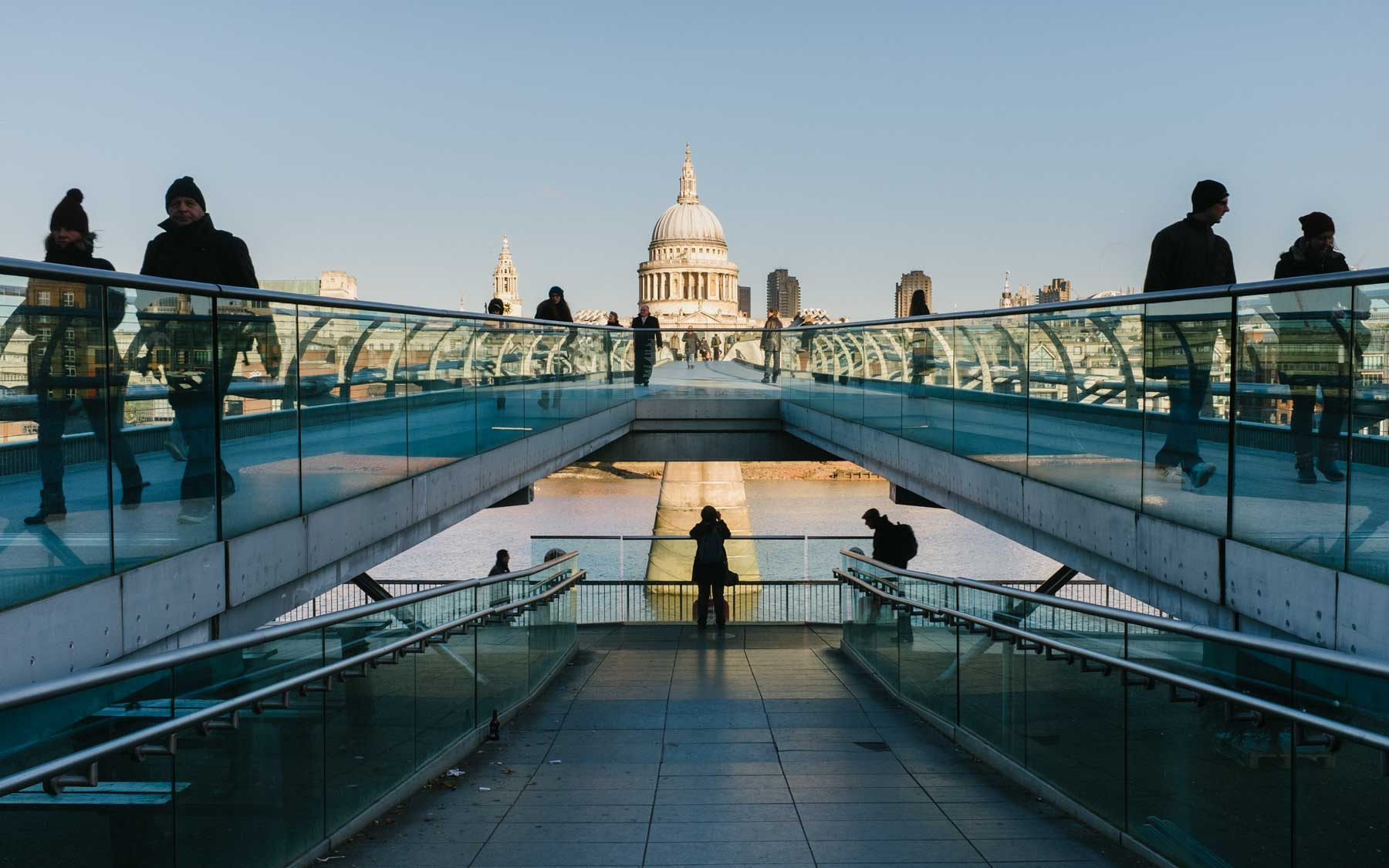 The Millennium Bridge spanning from the Tate Modern to St Paul's Catherdral.