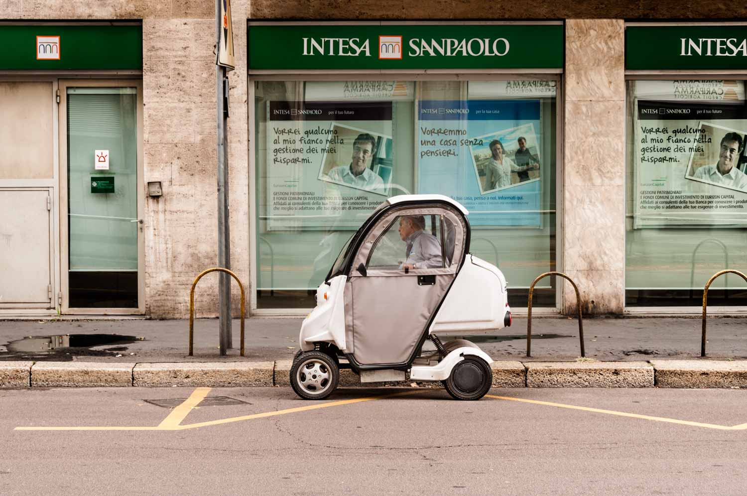 Miniature motoring in Milan.