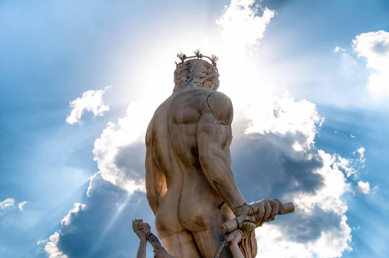 Neptune looking out over the Piazza della Signoria.