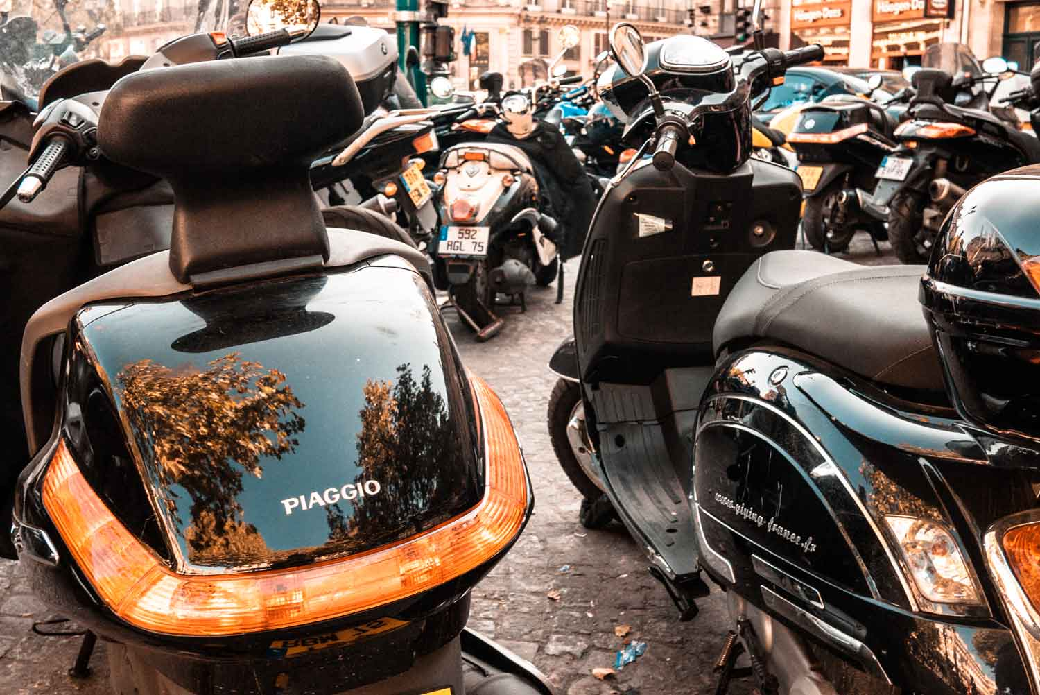 Motorcycles gather in central Paris.