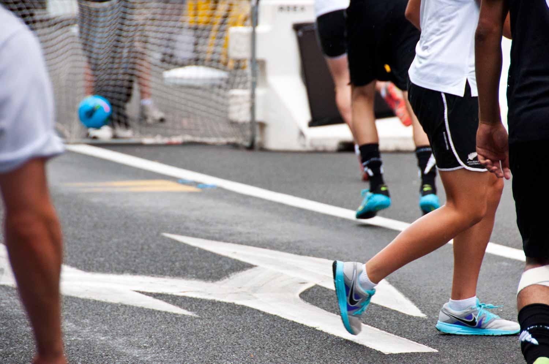 The under-17 NZ Women's Futsal team scores en route to victory.