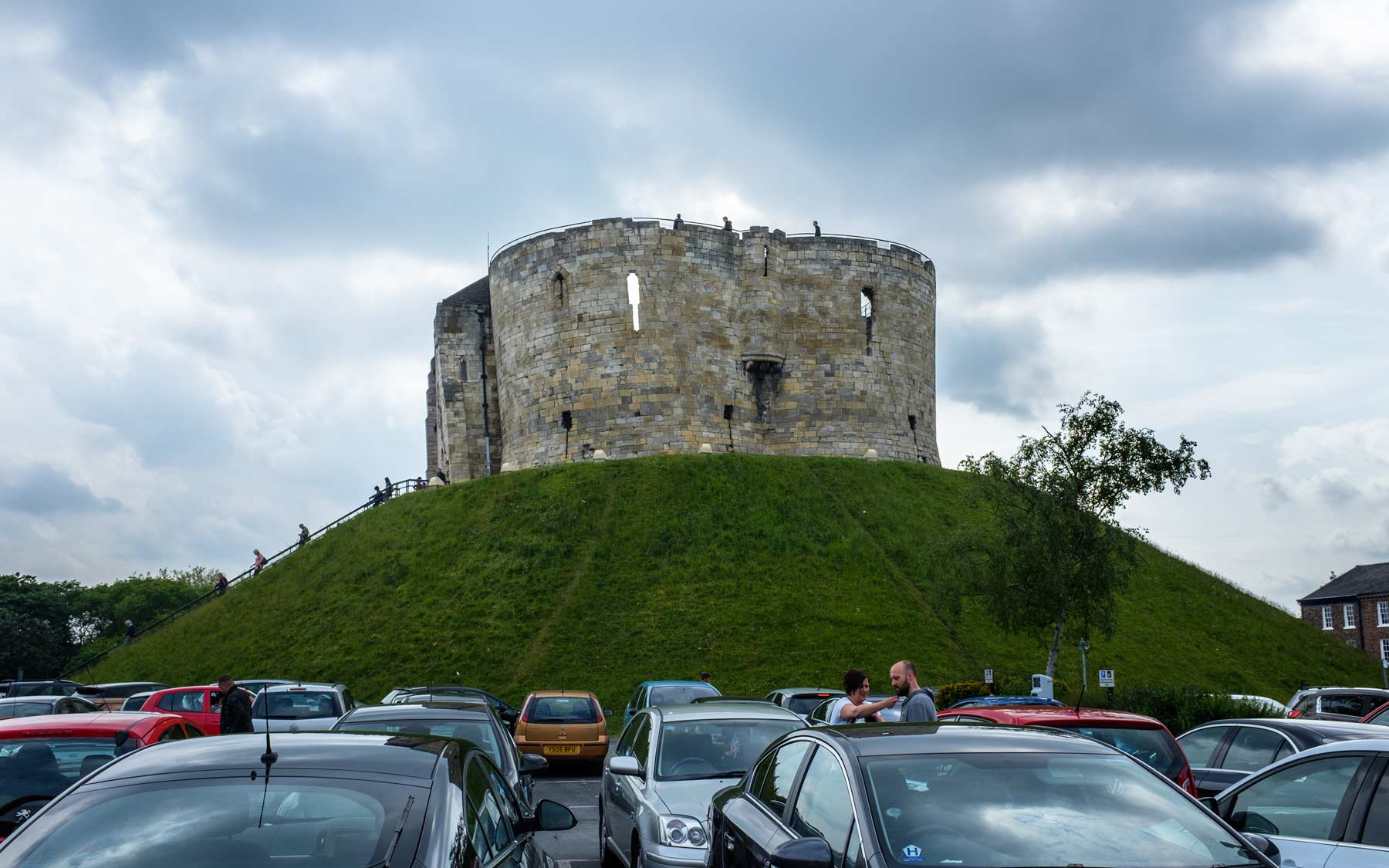 Clifford's Tower alongside the Coppergate Shopping Centre carpark.